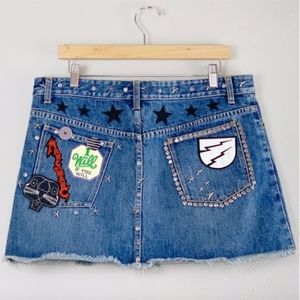 MARC JACOBS Punk Studded Patch Mini Skirt 12 LNUC